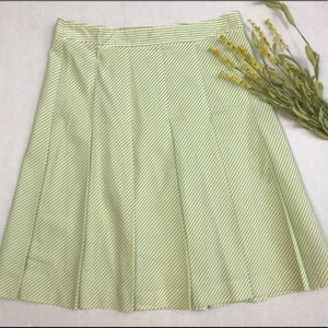Theory Green & White Striped Skirt